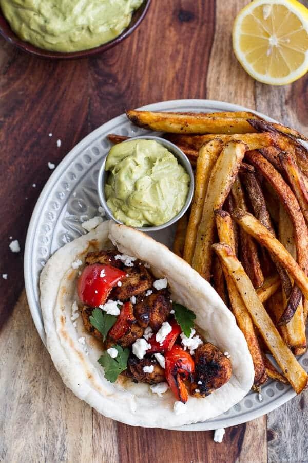 Shish Tawook (Grilled Chicken Skewers) wirth Roasted Garlic Avocado Mayo | halfbakedharvest.com