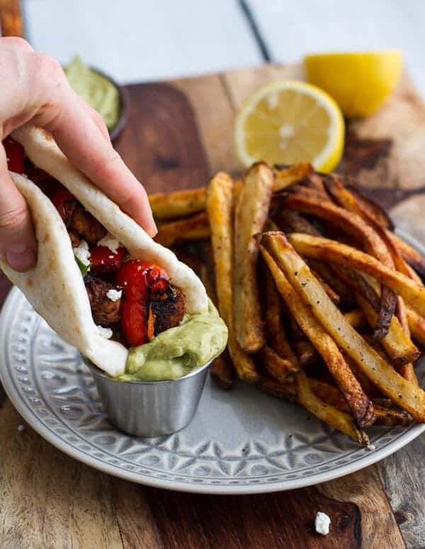 Shish Tawook (Grilled Chicken Skewers) wirth Roasted Garlic Avocado Mayo | halfbakedharvest.com