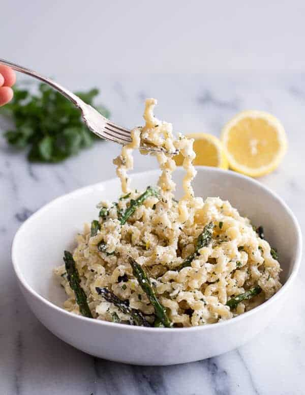 Simple Lemony Feta and Mascarpone Pasta with Grilled Asparagus | Simple Lemony Feta and Mascarpone Pasta with Grilled Asparagus | halfbakedharvest.com