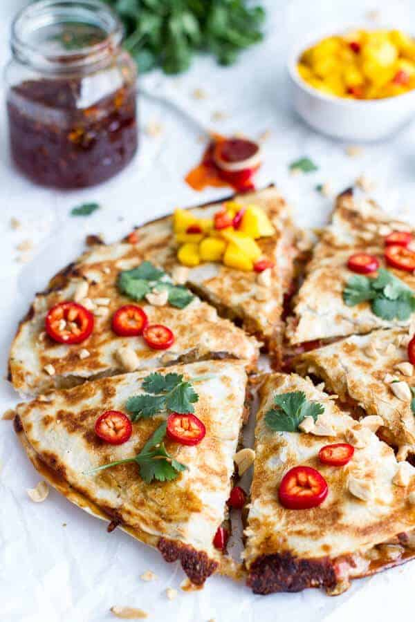 Sweet Thai Chili Salmon Quesadillas with Spicy Mango | halfbakedharvest.com