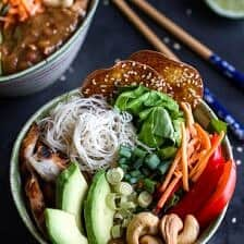 Vietnamese Chicken, Avocado + Lemongrass Spring Roll Salad With Hoisin Crackers.