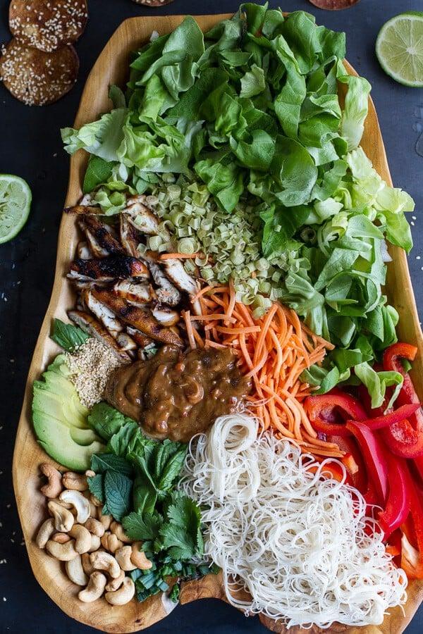 Vietnamese Chicken, Avocado + Lemongrass Spring Roll Salad With Hoisin Crackers | halfbakedharvest.com