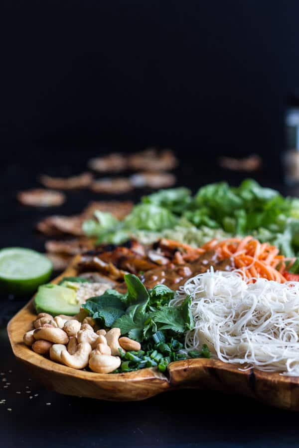 Vietnamese Chicken, Avocado + Lemongrass Spring Roll Salad With Hoisin Crackers | halfbakedharvest.com @hbharvest