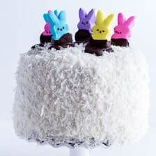 6-Layer (Or 3) Coconut Covered Chocolate Peeps Cake.