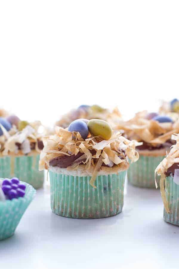 Angel Food Cupcakes with Chocolate Whipped Coconut Frosting + Crispy Phyllo Nest.-10