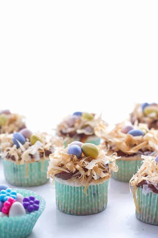 Angel Food Cupcakes with Chocolate Whipped Coconut Frosting + Crispy Phyllo Nest.