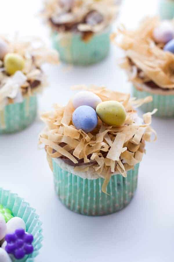 Angel Food Cupcakes with Chocolate Whipped Coconut Frosting + Crispy Phyllo Nest.-9