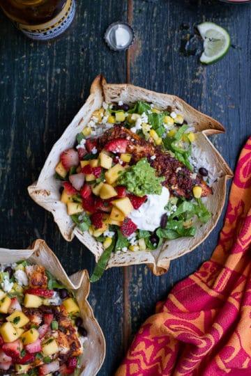 Chipotle Mahi Mahi Burrito Bowls w/ Coconut Lime Rice + Strawberry-Mango Salsa.