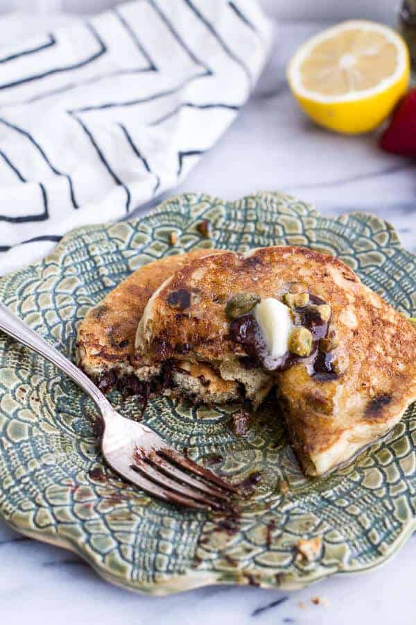 Chocolate Chip Lemon Baklava Pancakes with Salted Vanilla Honey Syrup | halfbakedharvest.com