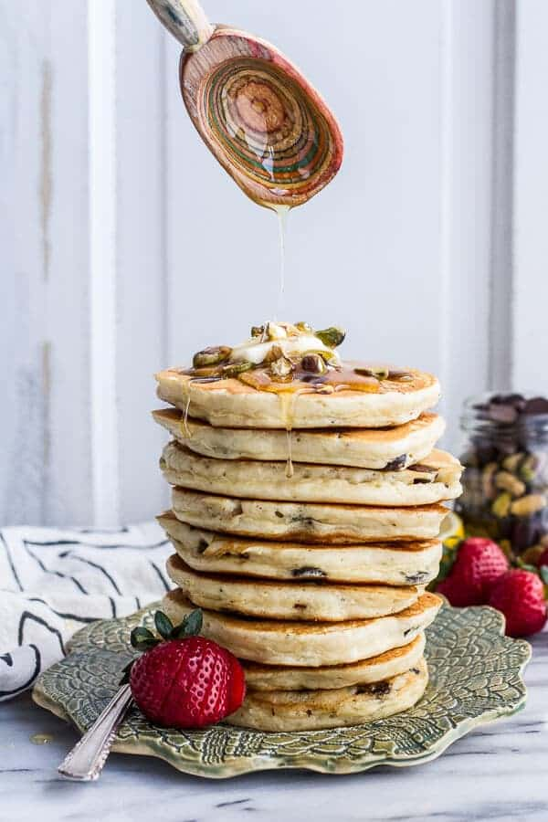 Chocolate Chip Lemon Baklava Pancakes with Salted Vanilla Honey Syrup | halfbakedharvest.com @hbharvest