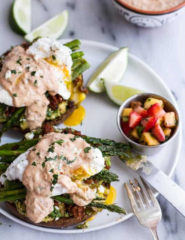 Cotija Guacamole + Chorizo Eggs Benedict with Honey Chipotle Lime Sauce | halfbakedharvest.com