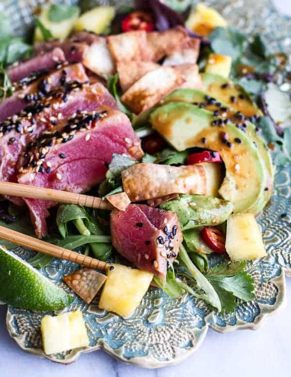 Seared Ahi Tuna Poke Salad with Hula Ginger vinaigrette + Wonton ...