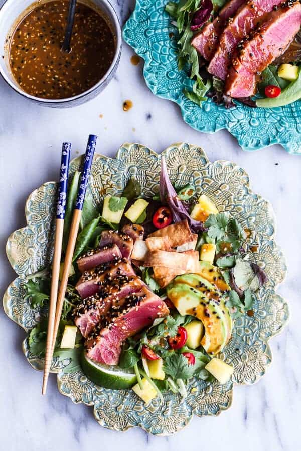 Seared Ahi Tuna Poke Salad with Hula Ginger vinaigrette + Wonton Crisps | halfbakedharvest.com @hbharvest