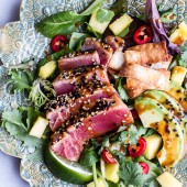 Seared Ahi Tuna Poke Salad with Hula Ginger vinaigrette + Wonton Crisps.-7