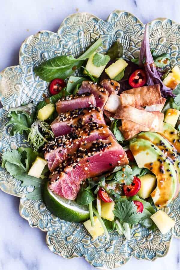 Seared Ahi Tuna Poke Salad with Hula Ginger vinaigrette + Wonton Crisps | halfbakedharvest.com