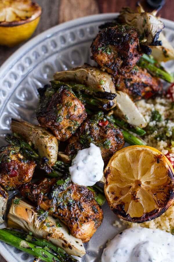 Spring Veggie + Lemon Moroccan Chicken Skewers with Minted Goat Cheese Yogurt | halfbakedharvest.com
