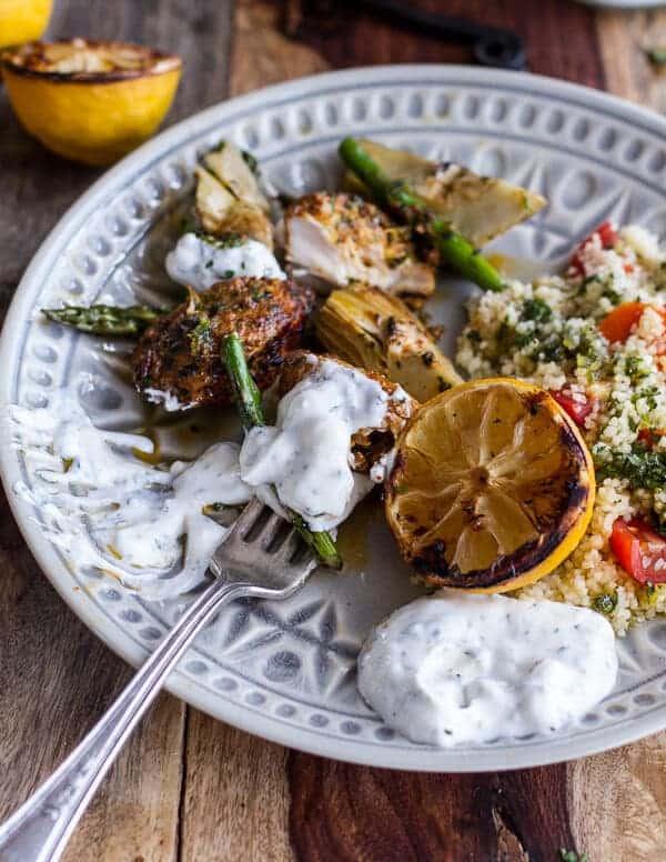 Spring Veggie + Lemon Moroccan Chicken Skewers with Minted Goat Cheese Yogurt.-16