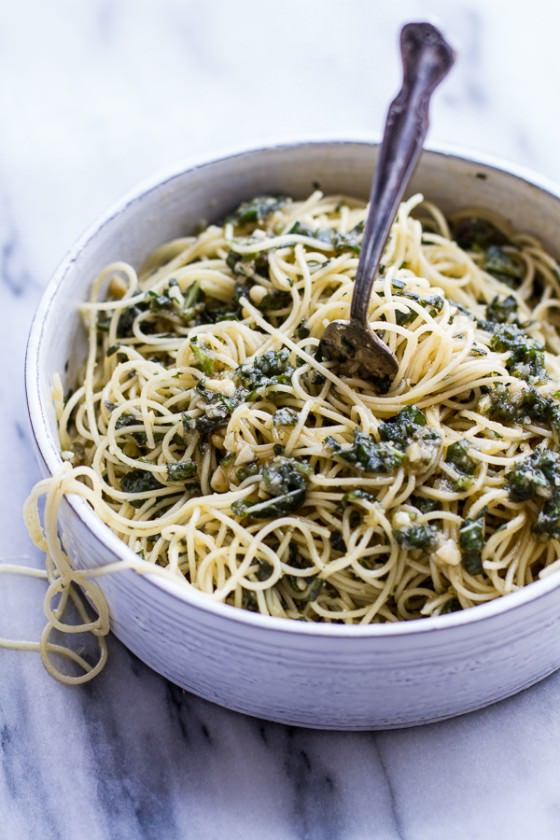 20 Minute Brown Butter Chunky Basil Pesto Pasta.-1