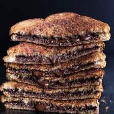 5 Minute Grilled Cinnamon Toast with Chocolate.