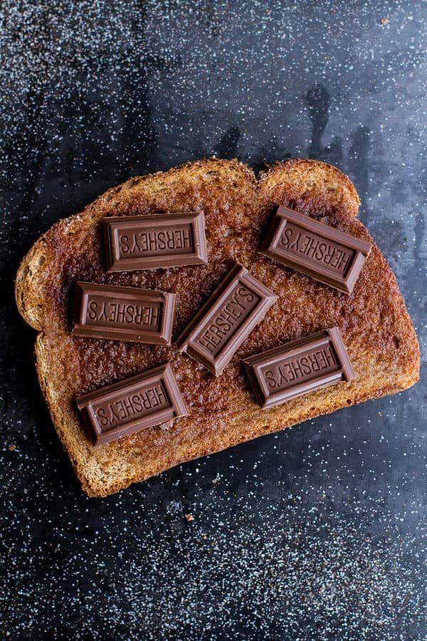 5 Minute Grilled Cinnamon Toast with Chocolate | halfbakedharvest.com