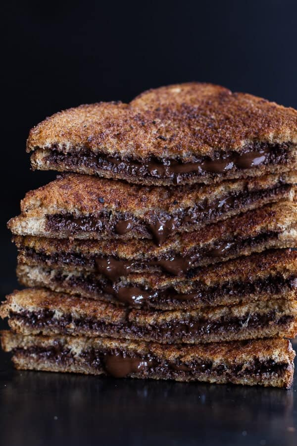 5 Minute Grilled Cinnamon Toast with Chocolate | halfbakedharvest.com