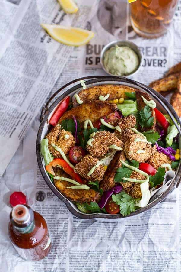 Cajun Shrimp 'n' Chips Po Boy Salad with Avocado Tarter Sauce | halfbakedharvest.com