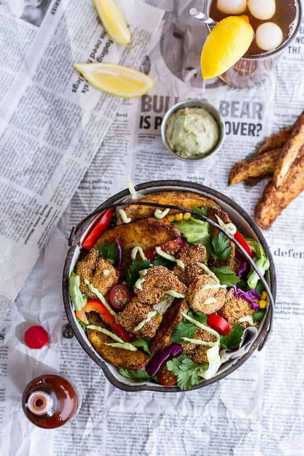 Cajun Shrimp 'n' Chips Po Boy Salad with Avocado Tarter Sauce | halfbakedharvest.com