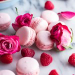 Coconut Raspberry Macarons With Raspberry Rose Buttercream.