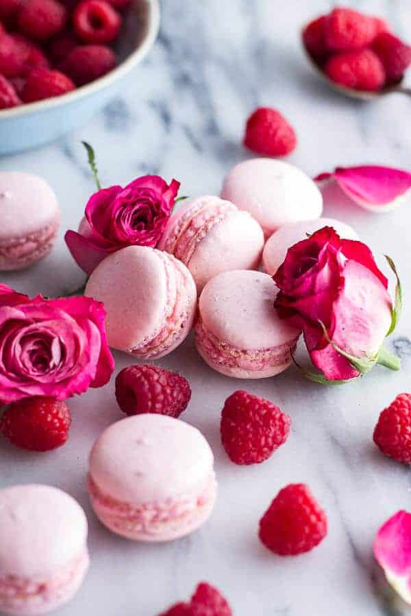 Coconut Raspberry Macarons With Raspberry Rose Buttercream | halfbakedharvest.com