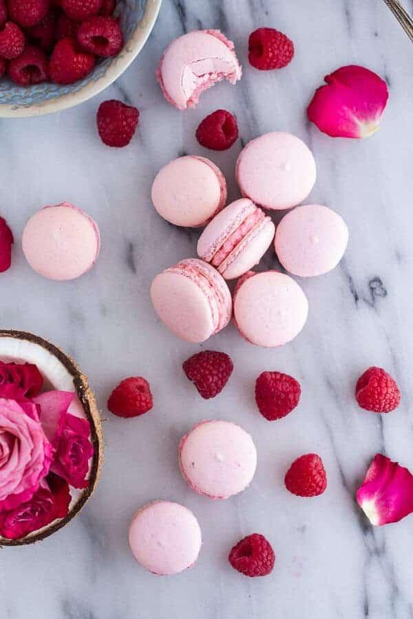 Coconut Raspberry Macarons With Raspberry Rose Buttercream | halfbakedharvest.com