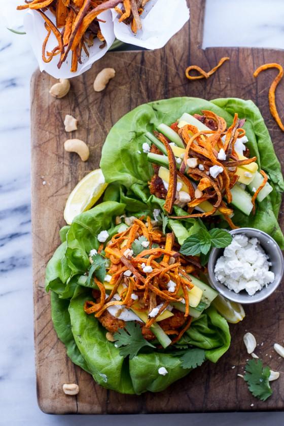 Curried Salmon Burger Lettuce Wraps w-Crispy Sweet Potato Straws + Goat cheese.-1