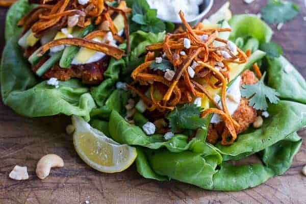 Curried Salmon Burger Lettuce Wraps w-Crispy Sweet Potato Straws + Goat cheese | halfbakedharvest.com