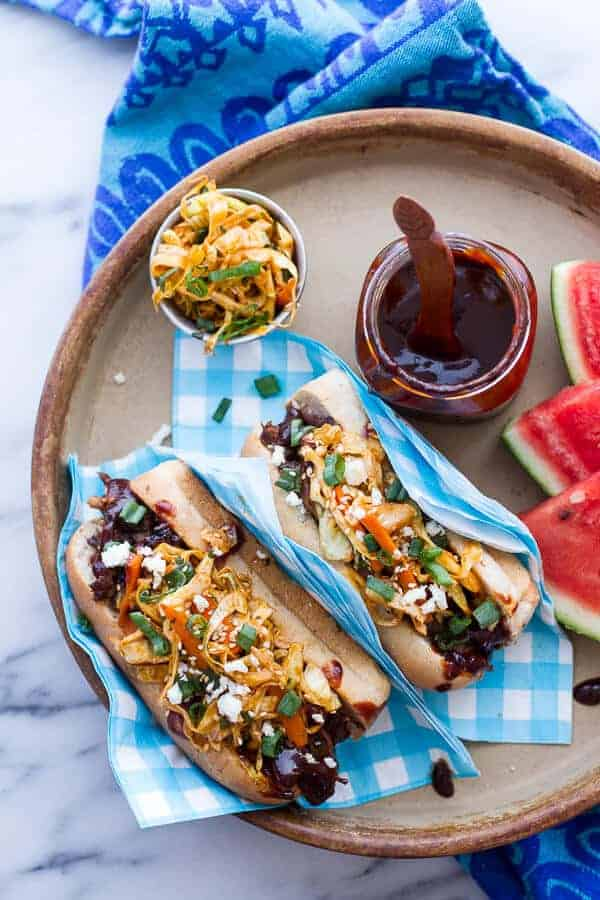 Grilled Korean BBQ Short Rib Dogs w-Sweet Peach Relish + Spicy Korean Slaw | halfbakedharvest.com
