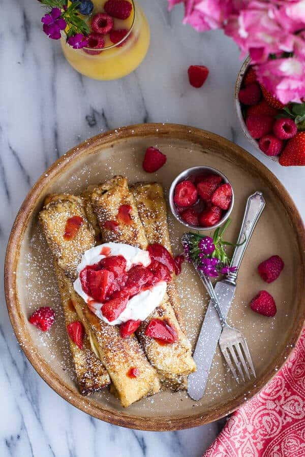 Lemon Ricotta Cheese Stuffed French Toast Crepes with Vanilla Stewed Strawberries | halfbakedharvest.com