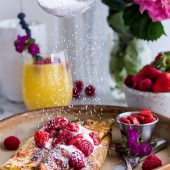 Lemon Ricotta Cheese Stuffed French Toast Crepes with Vanilla Stewed Strawberries-12