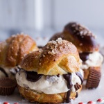 No-Churn Caramel Peanut Butter Cup Soft Pretzel Ice Cream Sammies w/Hot Fudge.