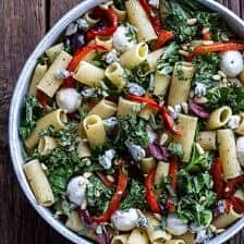 Simple Grilled Kale + Red Pepper Tuscan Pasta Salad.