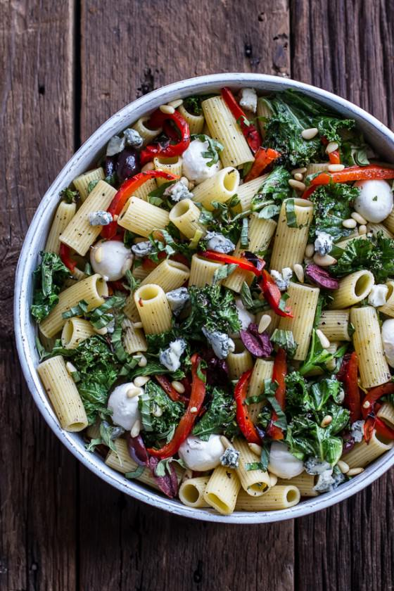 Simple Grilled Kale + Red Pepper Tuscan Pasta Salad.-1
