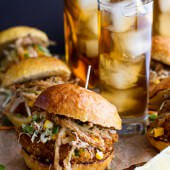 Tea Oven-Fried Chicken Sliders w- Jalapeño Cheddar Corn Slaw + Crispy ...