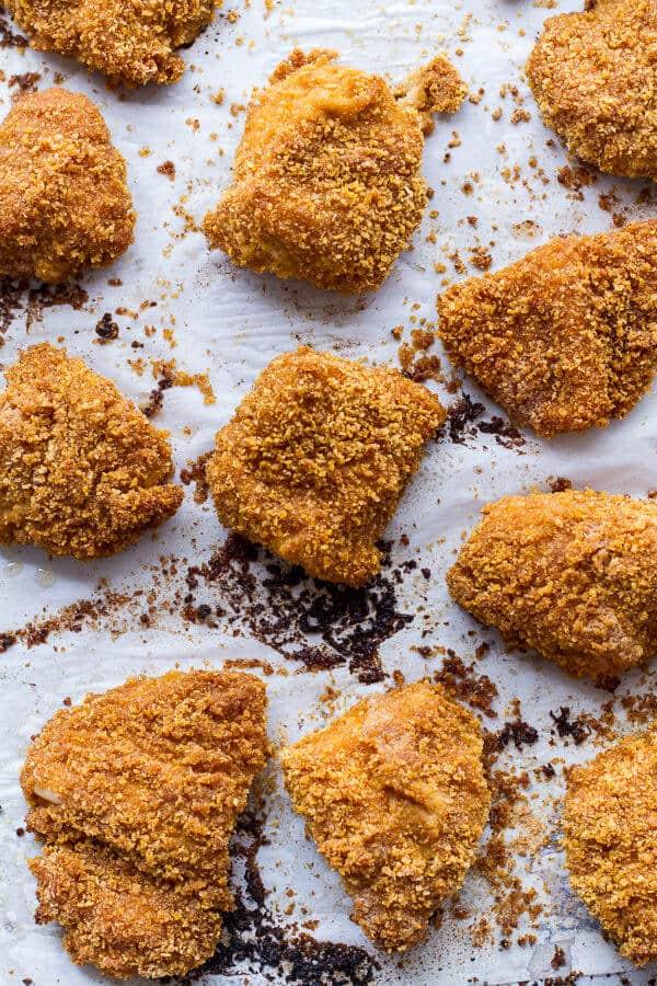 Sweet Tea Oven-Fried Chicken Sliders w- Jalapeño Cheddar Corn Slaw + Crispy Onions | halfbakedharvest.com