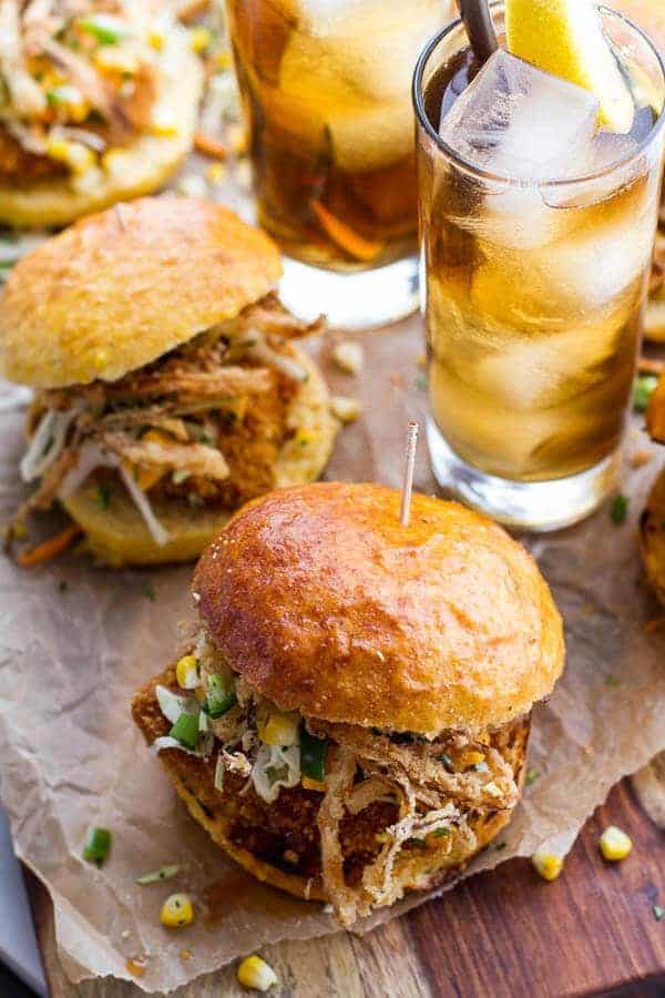 Sweet Tea Oven-Fried Chicken Sliders w- Jalapeño Cheddar Corn Slaw + Crispy Onions | halfbakedharvest.com