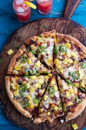 The TJ Hooker Pizza (Chipotle BBQ and Sweet Chili Pineapple + Jalapeño Pizza with Bacon)!
