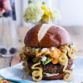 Buffalo-Blue Curly Cheese Fry and Crispy Black Bean Burgers-1