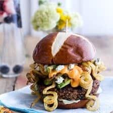 Buffalo-Blue Curly Cheese Fry and Crispy Black Bean Burgers.