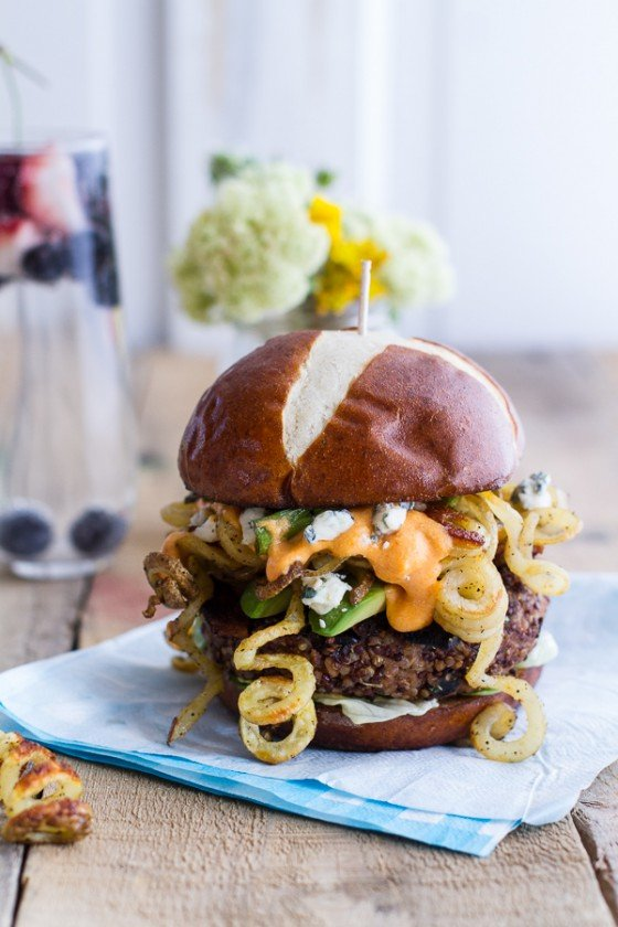 Buffalo-Blue Curly Cheese Fry and Crispy Black Bean Burgers-1