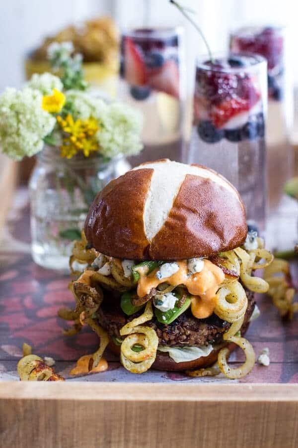 Buffalo-Blue Curly Cheese Fry and Crispy Black Bean Burgers   halfbakedharvest.com