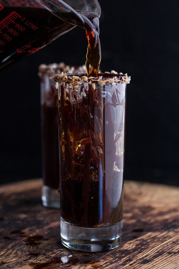 Coconut Iced Coffee...with Mini Chocolate Glazed Coffee Doughnuts | halfbakedharvest.com