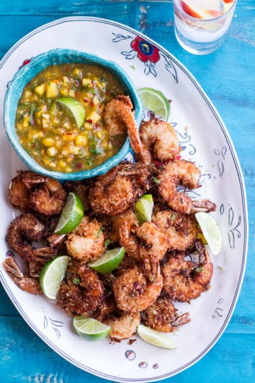 Coconut-Lime Fried Shrimp with Fiery Mango-Peach Jalapeño Sauce.
