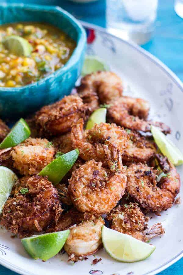 Coconut-Lime Fried Shrimp with Fiery Mango-Peach Jalapeño Sauce | halfbakedharvest.com