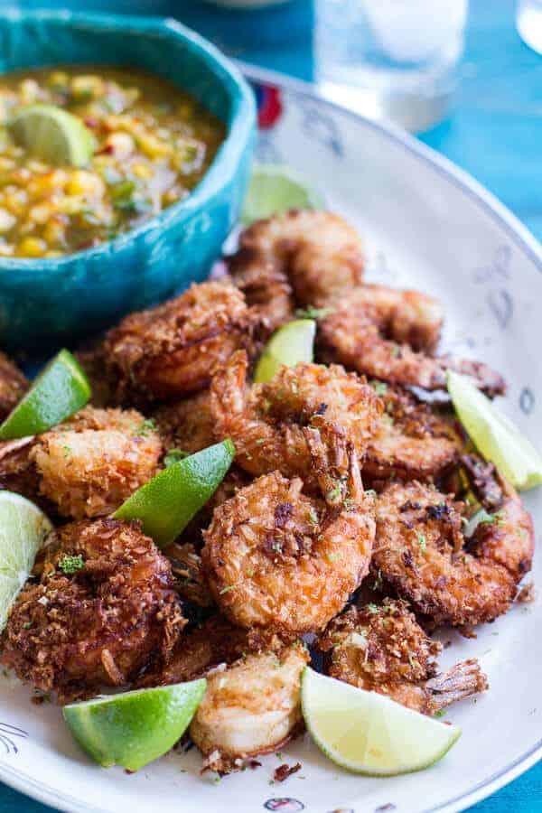Coconut-Lime Fried Shrimp with Fiery Mango-Peach Jalapeño Sauce | halfbakedharvest.com